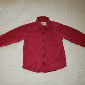 Boys red button front shirt
